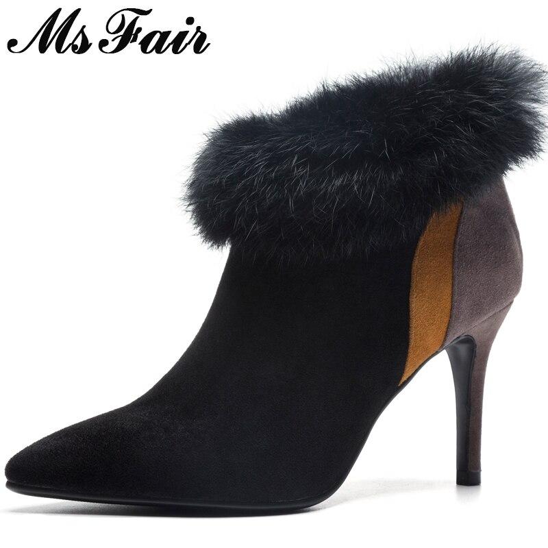 Zipper Pointu Femmes Msfair D'hiver marron Fermeture De Chaussures Haut Noir Talons Mince Femme Cheville Bout Fourrure Bottes Talon Éclair Mode 6wqCwFAx