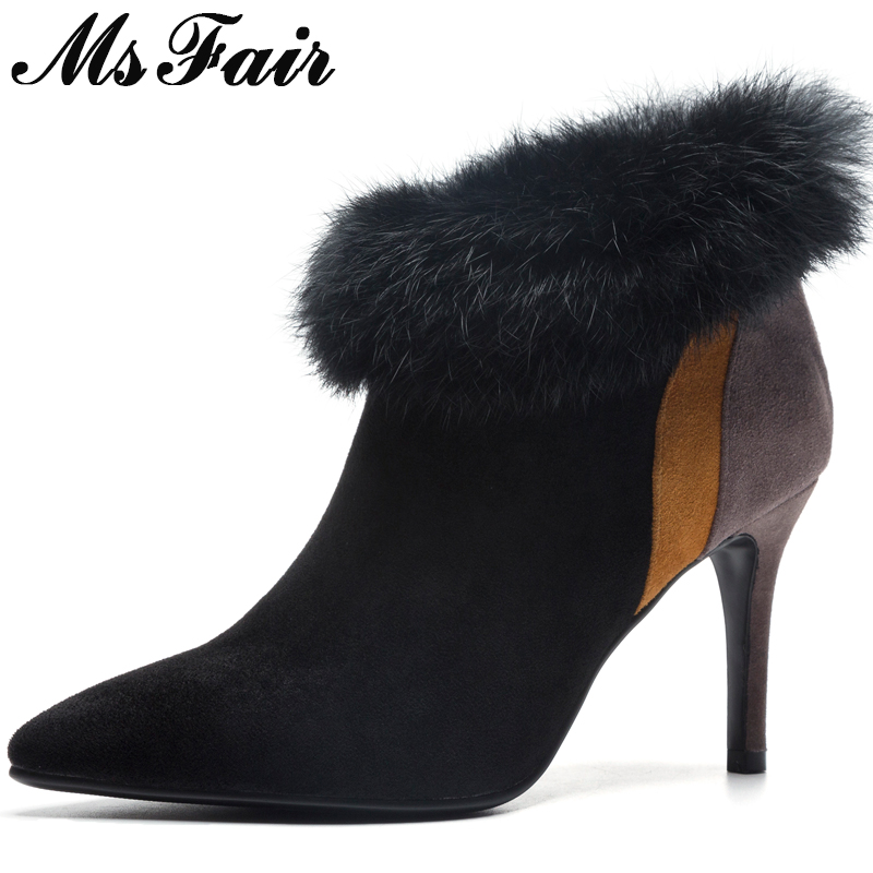 MSFAIR Pointed Toe Thin Heels Women Boots Fashion Zipper Fur Ankle Boots Women Winter Shoes Zipper High Heel Boots Shoes Woman msfair pointed toe super high heel women boots fashion zipper ankle boots women shoes elegant thin heels black khaki boots shoes