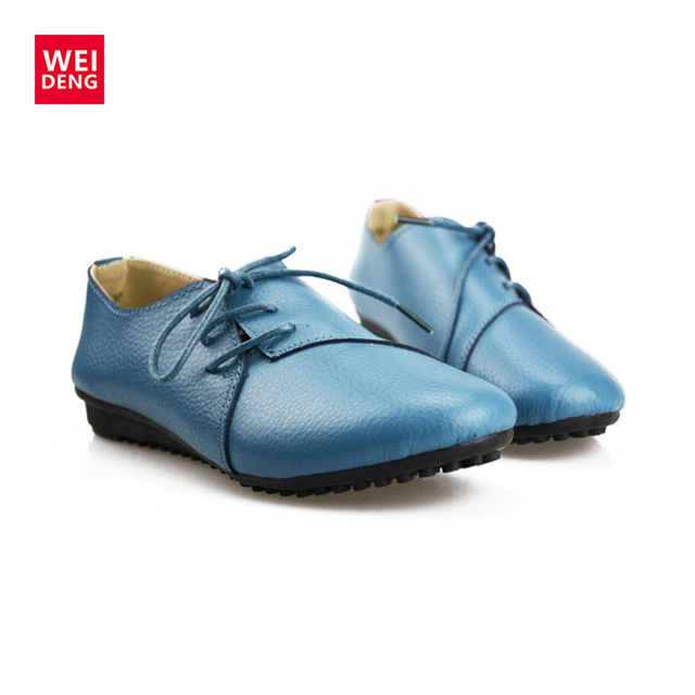 2017 Spring Women Casual Genuine Leather Flat Lace up Flat Shoes Boat Comfortable Loafers Preppy Style Soft Ventilation Fashion