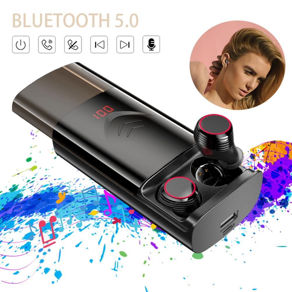 <font><b>T9</b></font> <font><b>TWS</b></font> Wireless Bluetooth 5.0 Earphones Earbuds Stereo HIFI Noise Reduction Earphones With 6000mAh Charging Case Waterproof image