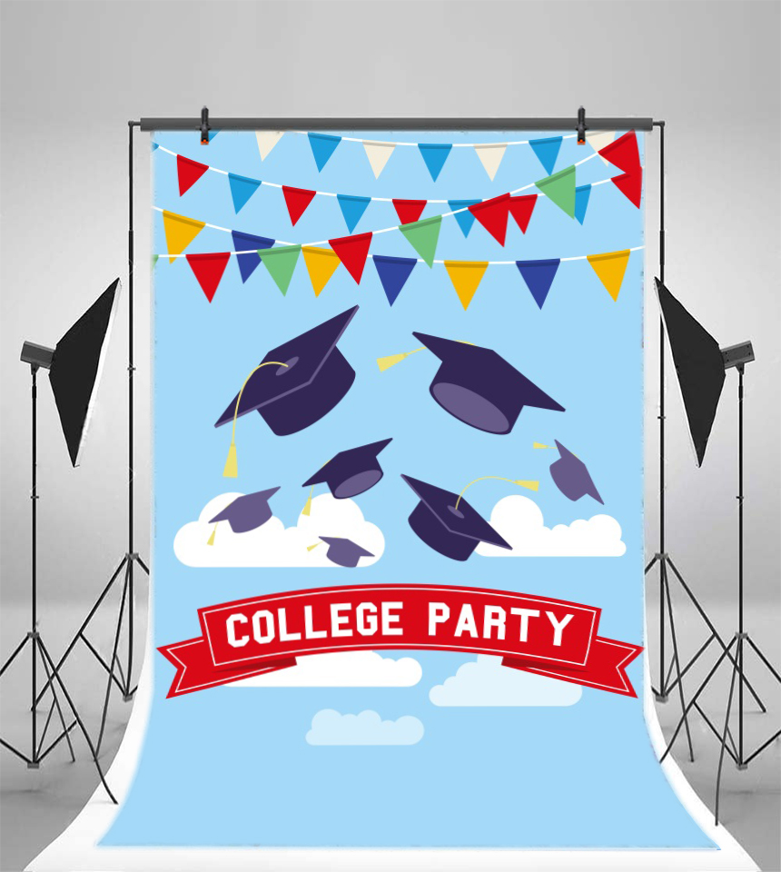 Laeacco Student Graduation College Party Poster Scene Photography Backgrounds Customized Photographic Backdrops For Photo Studio