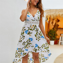 b65d8a4b51683 Women s summer sundress fashion print party sexy dress elegant casual  sleeveless midi V neck clothes