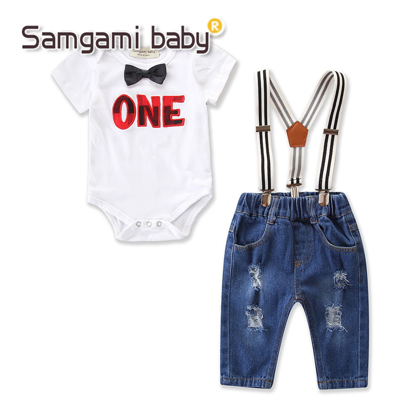 SAMGAMI BABY Toddler Boys Clothing Set Summer Short Sleeve Romper+jeans 2pcs Kids Suit Boy Clothes Fashion Overalls Jumpsuit