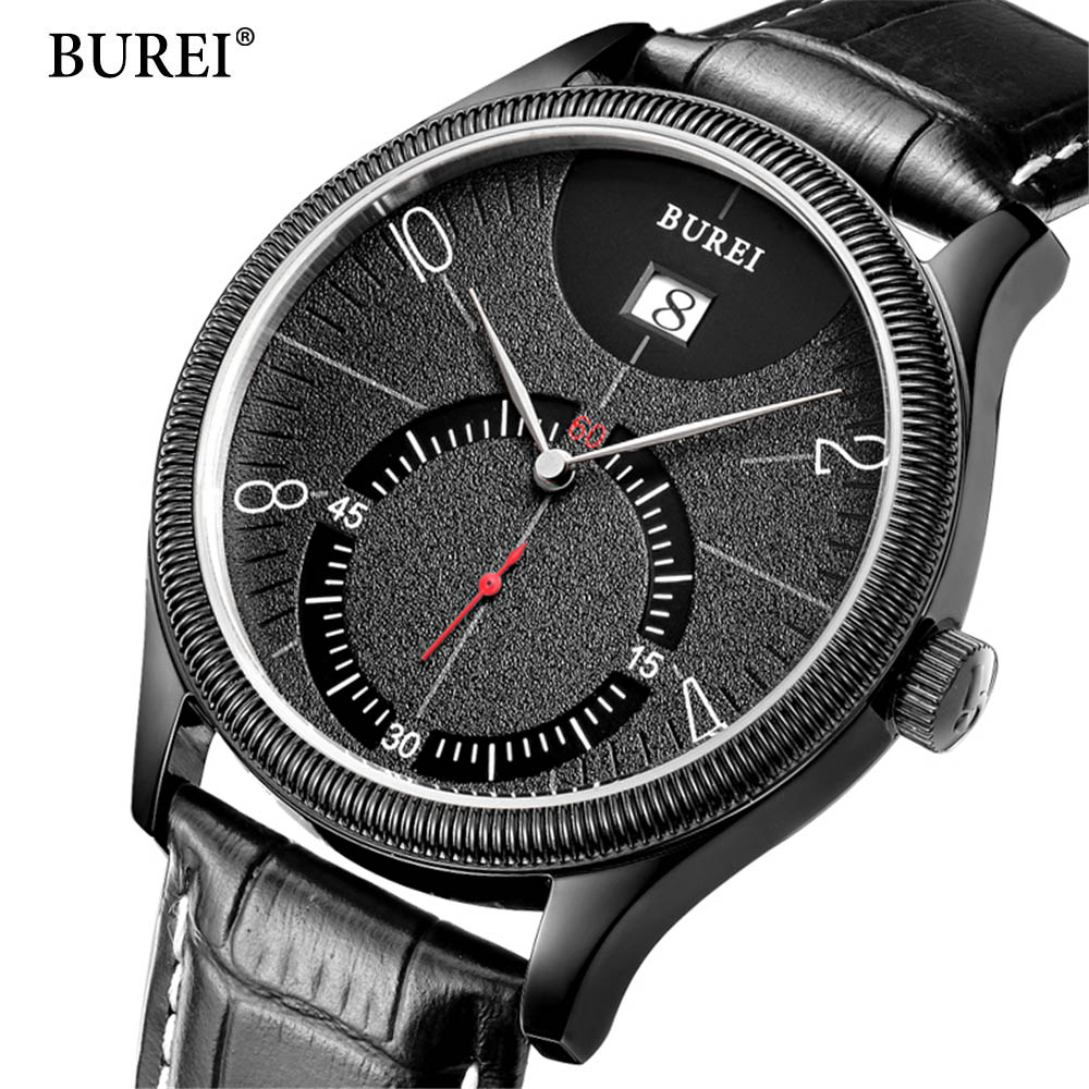 BUREI Mens Watches Top Brand Luxury Fashion Male 30M Waterproof Sport Watch Casual Genuine Leather Quartz Business Watches Men xinge top brand luxury leather strap military watches male sport clock business 2017 quartz men fashion wrist watches xg1080