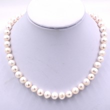 Europe Chic Fashion 8-9mm Near-round white pearl beaded necklace choker necklace gifts jewelry wholesale Free Shipping(China)