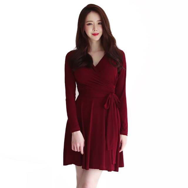 997b4e7c80b6 2019 Summer Women V-Neck Long Sleeve Pleated Short Wrap Dress Ladies Office  Dresses