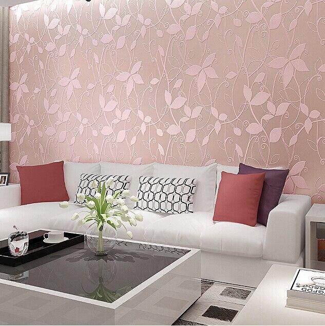 Pink flower wallpaper living room living room for Red flower wallpaper living room