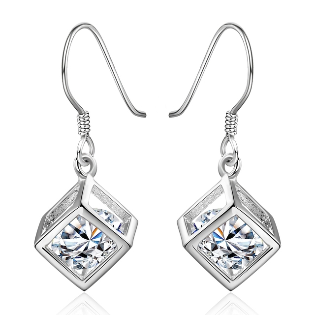 Cubic Zirconia Wedding Earrings With Stones Large Costume Jewelry Orni Silver Vintage Brinco De