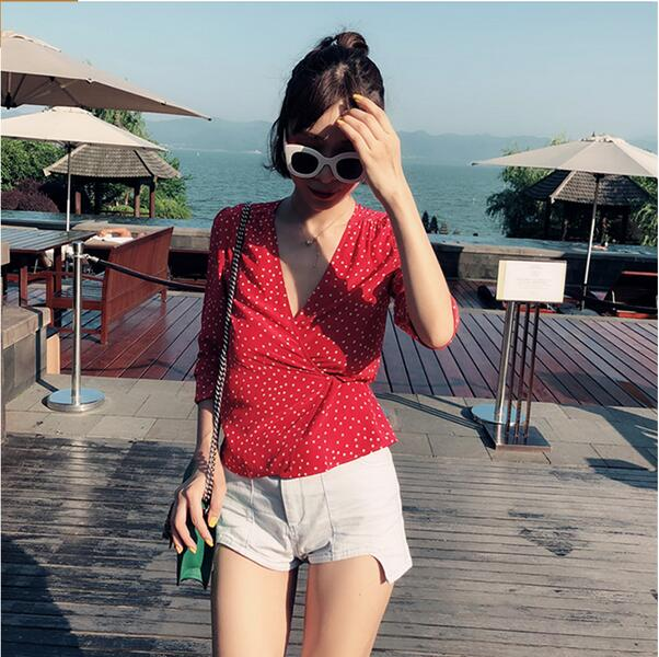 7729b66134310 Silk the bianca - red star printed long nine quarter sleeve v neck women  short style wrap blouse tops only for you