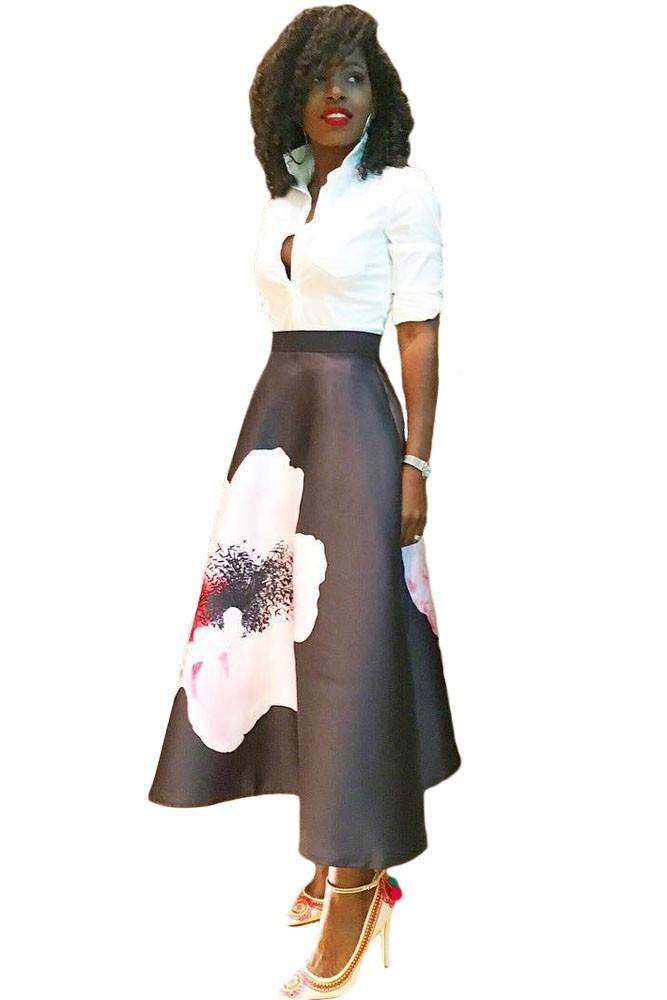 Big-Flower-Print-Black-High-Waist-Maxi-Skirt-LC65017-2-1