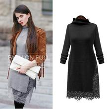 2016 Autumn Winter Women New Slim Long-sleeved Sexy High-necked Dress Splicing Split Lace Hem Casual Knitted Sweater Dress XXXXL