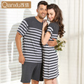 2016 Summer Europe Qianxiu Brand Couple Pajamas Sets Men Women Unisex Modal Sleepwear Stripe Gray Casual Cotton Nightgown1415