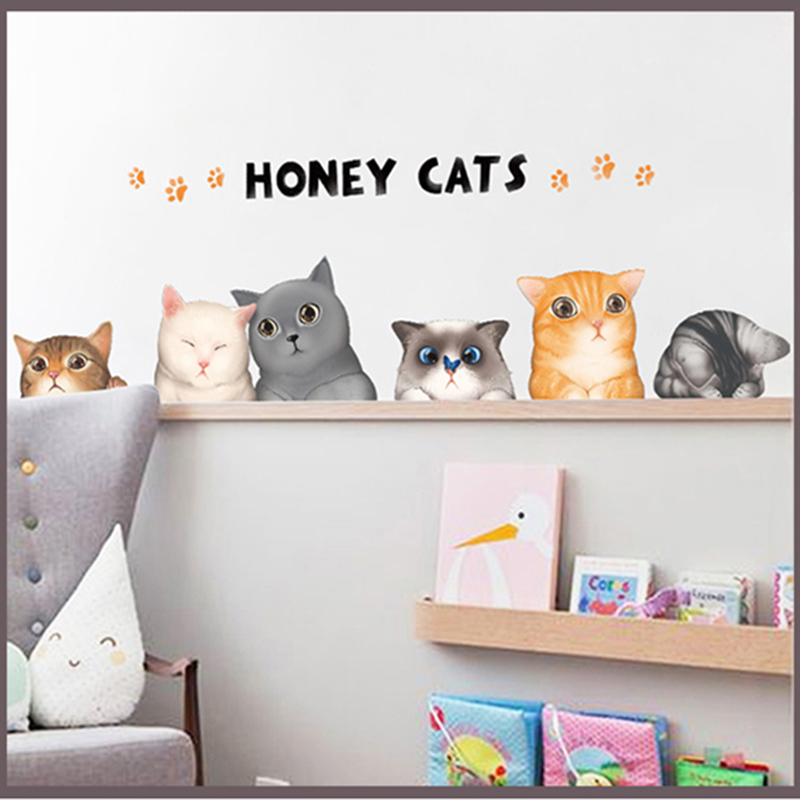 Cute little cat sticker wall stickers bedroom bedside background decoration cartoon wall stickers dormitory college students