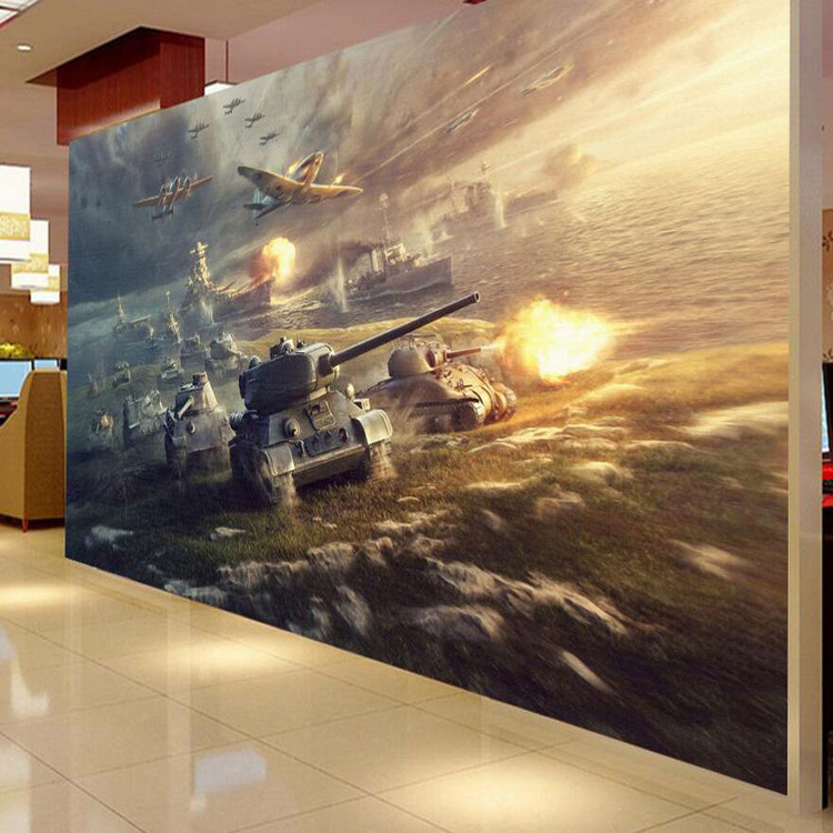 цены  Free Shipping Internet cafes game room 3D wallpaper aircraft tanks war military soldiers bar KTV Hotel bedroom living room mural
