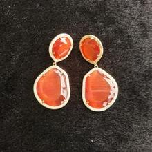 2018 Fashion Dangle Drop Earrings made of Stone Women's Jewelry Earrings Woman Bijouterie Femme Orange Green Earrings for Women