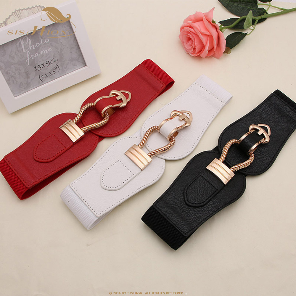 SISHION New Fashion Gold Buckles Elastic Wide Belt Female QY0173 Red Black White Faux Leather Waist Belts For Women Dress Pants