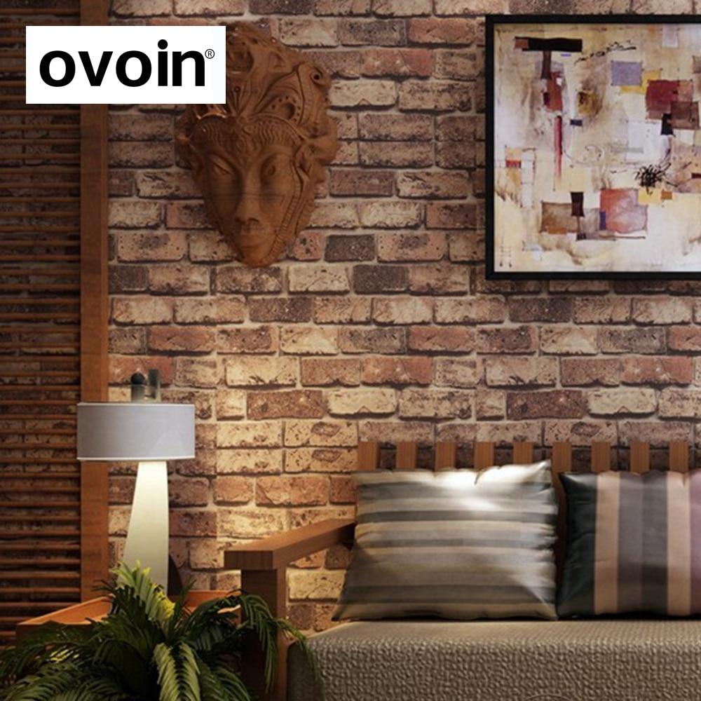 Wallpaper Batu Bata 3d Pvc Chinoiserie Retro Sandstone Wall Brick Kitchen