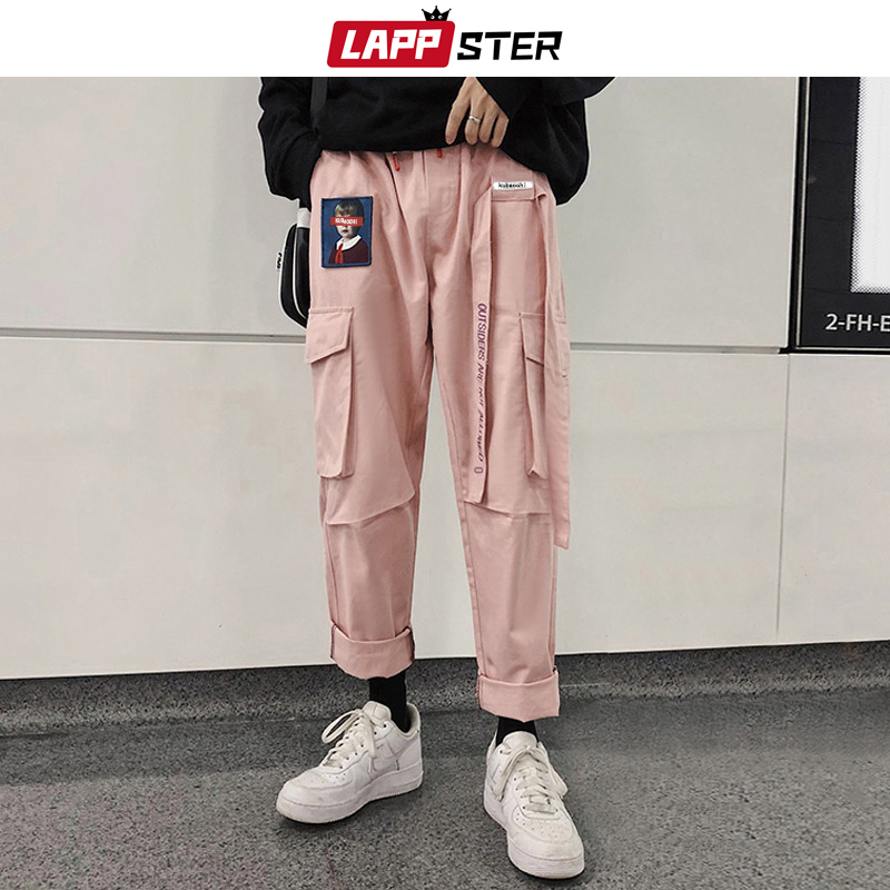 LAPPSTER Ribbons Streetwear Cargo Pants 2019 Overalls Men Pocket Hip Hop Harem Pants Wide Leg Joggers Straight Sweatpants 5XL