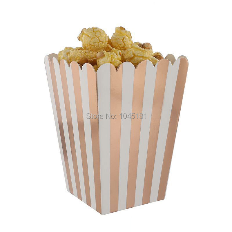 ipalmay 120pcs Rose Gold Striped Popcorn Boxes Cardboard Candy Container Wedding Favor Party Supplies Baby Shower