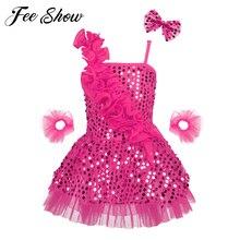 Детское блестящее платье с блестками для девочек, костюмы для бальных танцев, латинских танцев, джазовых выступлений, детское балетное Сетчатое платье-пачка