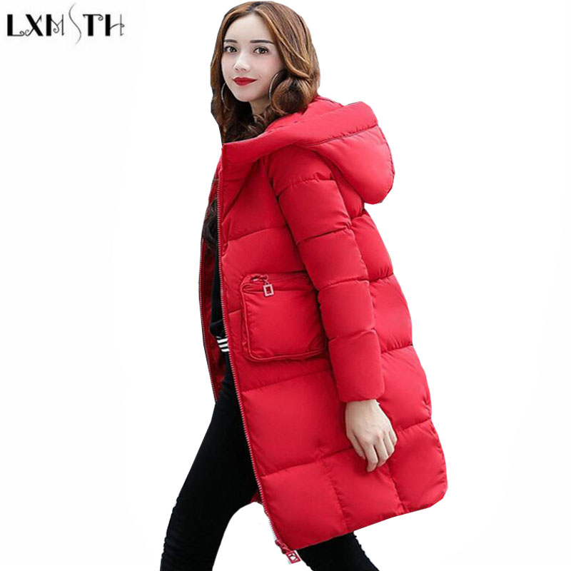 LXMSTH Winter Outerwear Women Long Slim Hooded ladies Parka Coats Cotton-padded jacket jaqueta feminina inverno 2017 Plus Size jaqueta feminina inverno new autumn winter women jacket cotton padded casual slim coat emboridery hooded parkas plus size 3xl