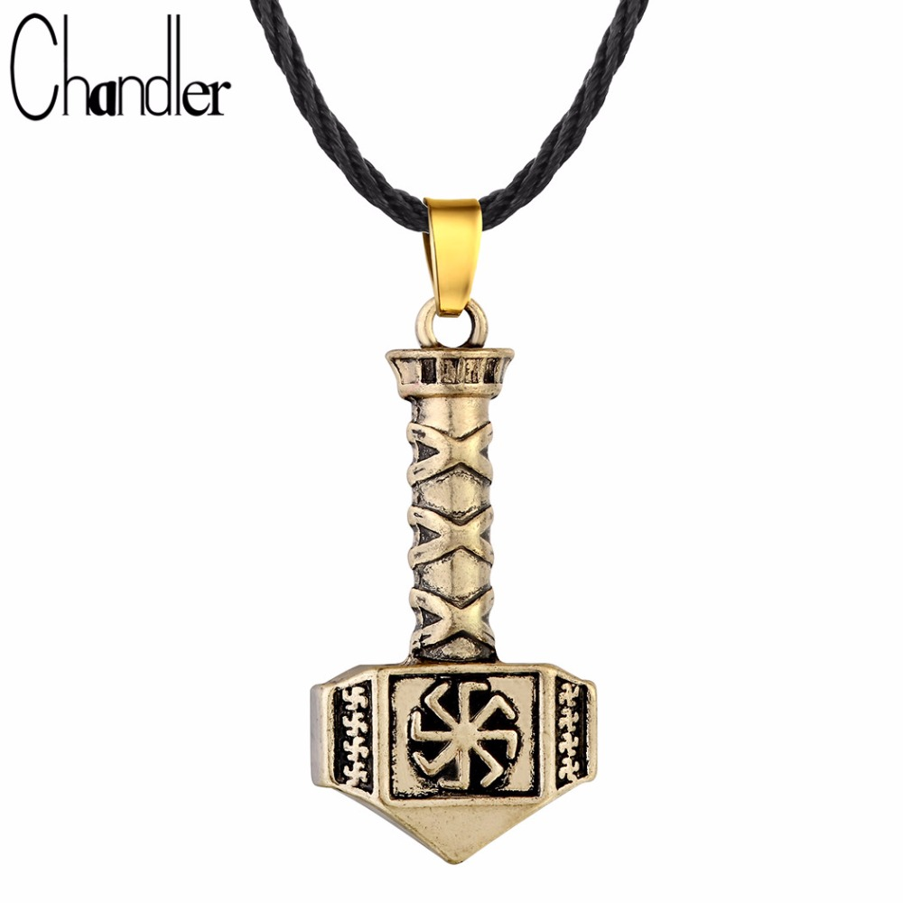 Chandler Antique Silver Gold Colour Kolovrat Pendant Necklace Slavic Hammer Of Thor Charm Semplice gioielli vichinghi 2017 Nuova coppia