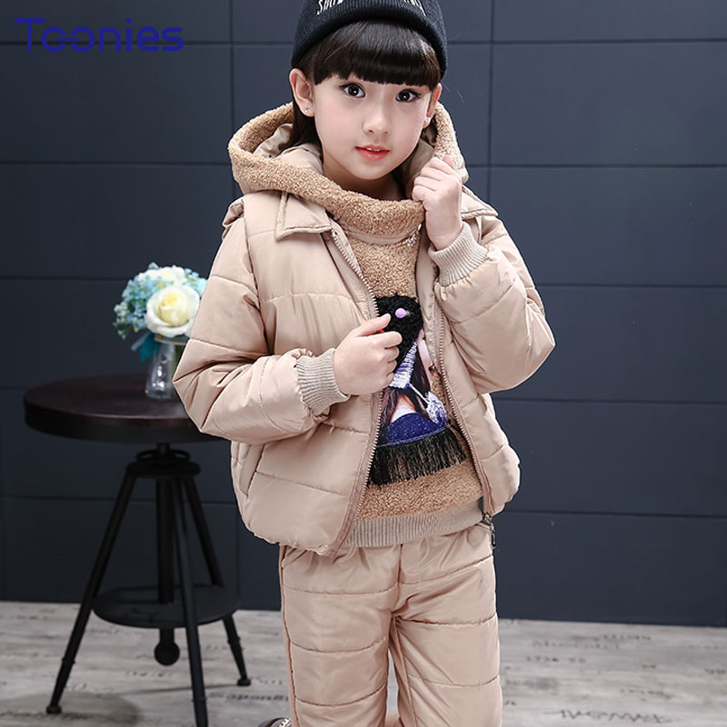 3pcs Winter Kids Pants Suit Thick Girls Clothing Sets Long Sleeve Girl Sportswear New Fashion Tassels Children Suit High Quality
