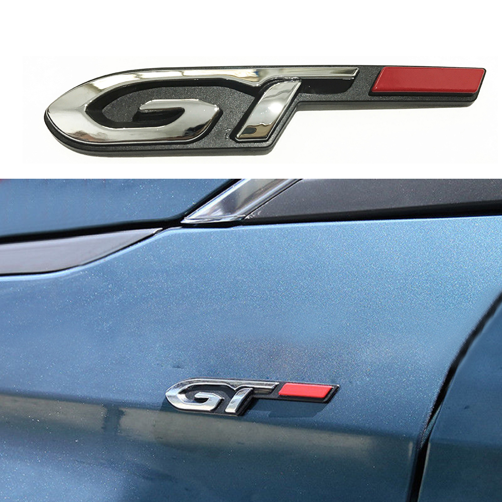 1-50 pcs 3D Stereo GT Line Letters Emblem Sticker <font><b>Chrome</b></font> For <font><b>Peugeot</b></font> 206 307 308 407 207 <font><b>208</b></font> 508 2008 3008 Trunk Accessories image