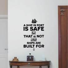 Autocollant mural en vinyle, citation d'un bateau à Port en sécurité avec un bateau et ancre, décoration de fenêtre de maison, Design de bricolage