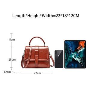 Image 4 - Zency Retro Brown Women Tote Handbag 100% Genuine Leather Daily Casual Shopping Messenger Shoulder Bag Luxury Dark Red Black