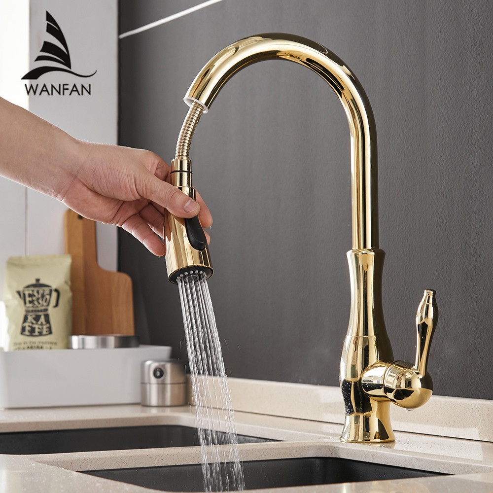 Gold Kitchen Faucets Silver Single Handle Pull Out Kitchen Tap Single Hole Handle Swivel Degree Water