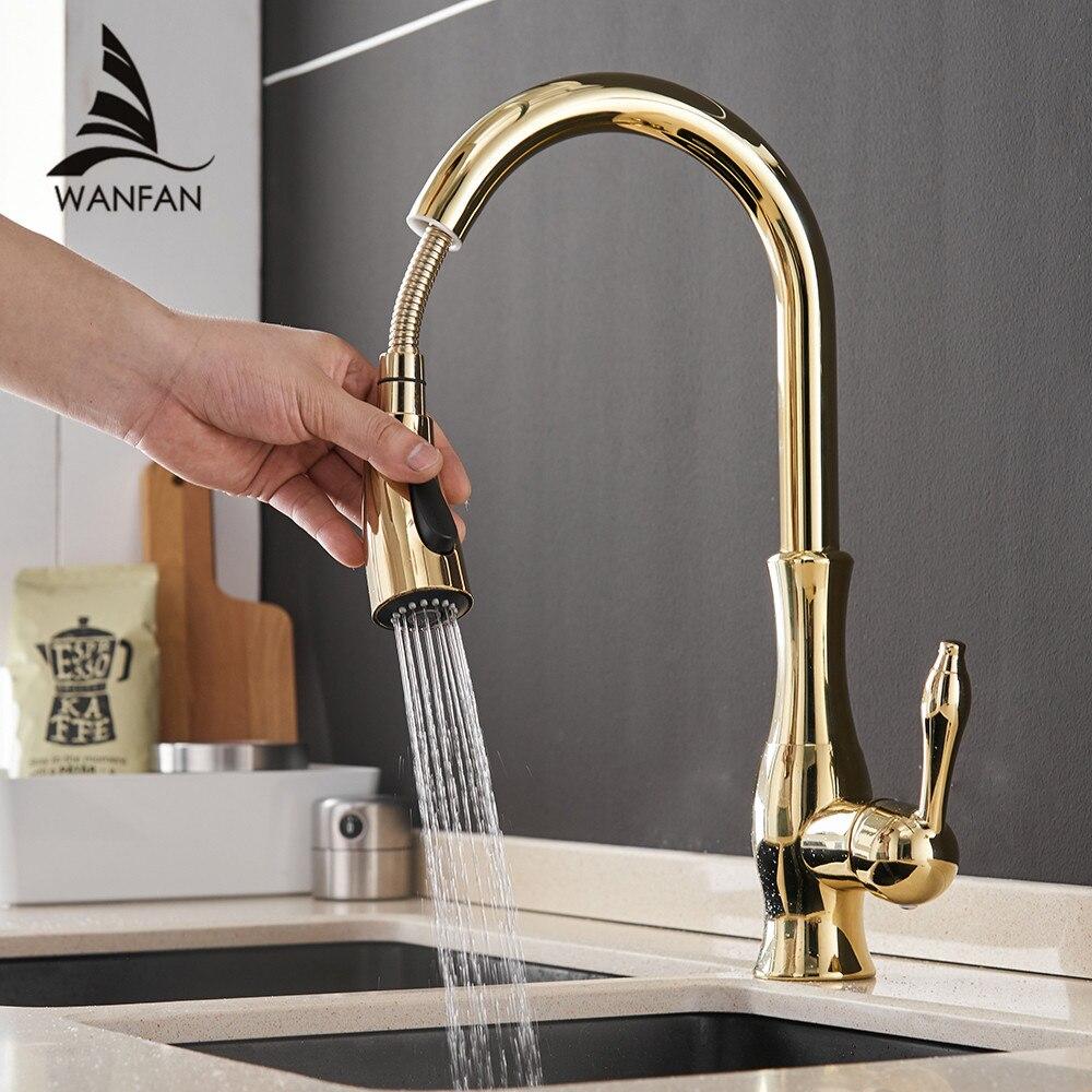 Robinets de cuisine en or argent poignée unique retirer le robinet de cuisine poignée monotrou pivotant degrés mélangeur d'eau robinet mélangeur 866011