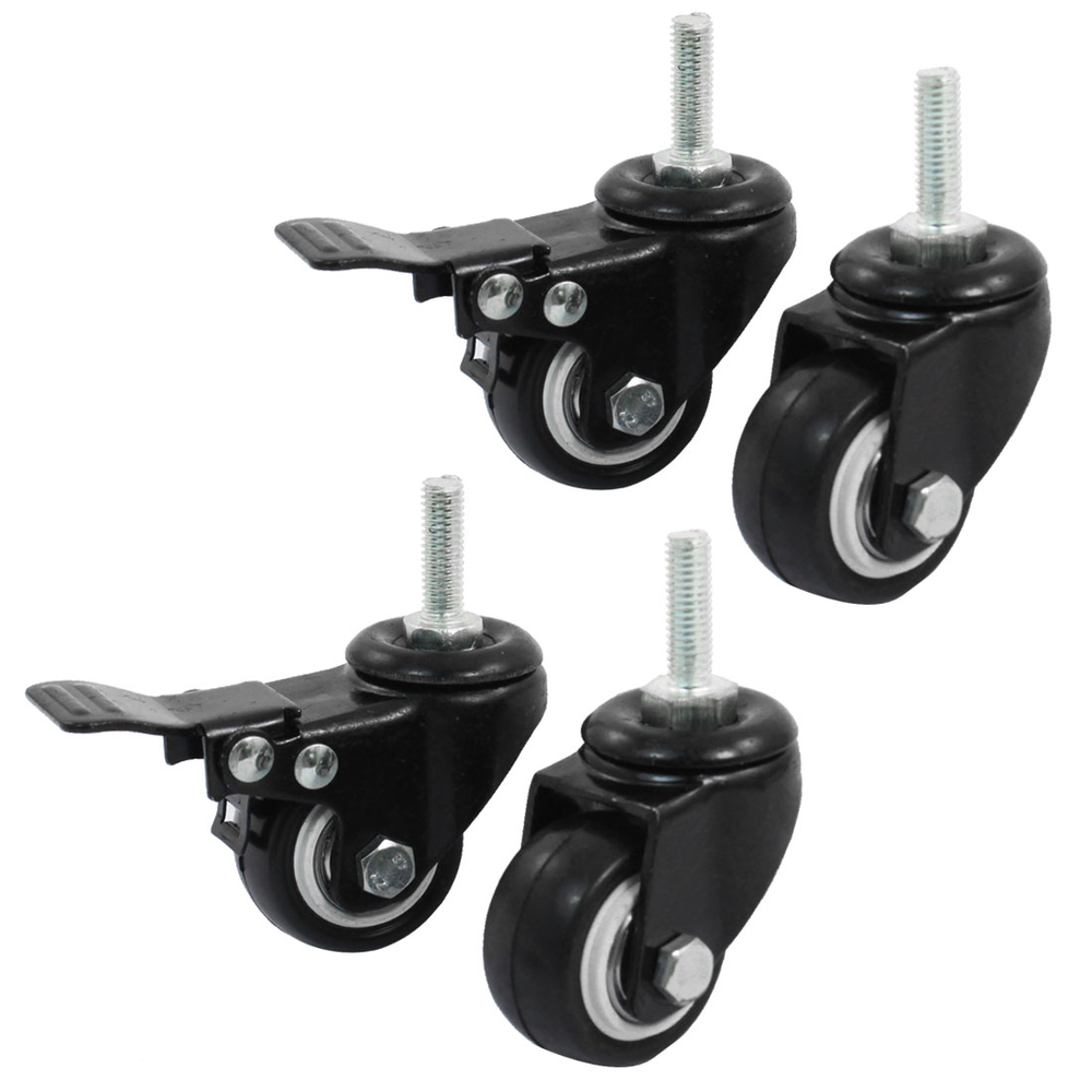 UXCELL 8Mm Thread 1.5 Wheel Rotatable Shopping Trolley Brake Swivel Caster Black 4Pcs uxcell a11102700ux0090 2 inch wheel trolley stem industrial swivel caster brake gray