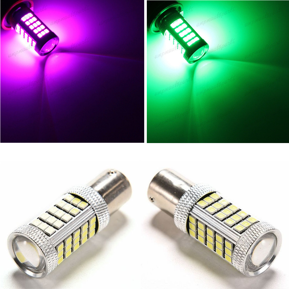 CYAN SOIL BAY 1157 LED BAY15D 63 SMD 2835 Turning Reverse Fog Lamp Bulb 30W Bright Than 33 SMD Light Green Pink Purple  h7 2835 63 66 smd led px26d projector fog driving light bulb blue car lamp source bright than 33 smd