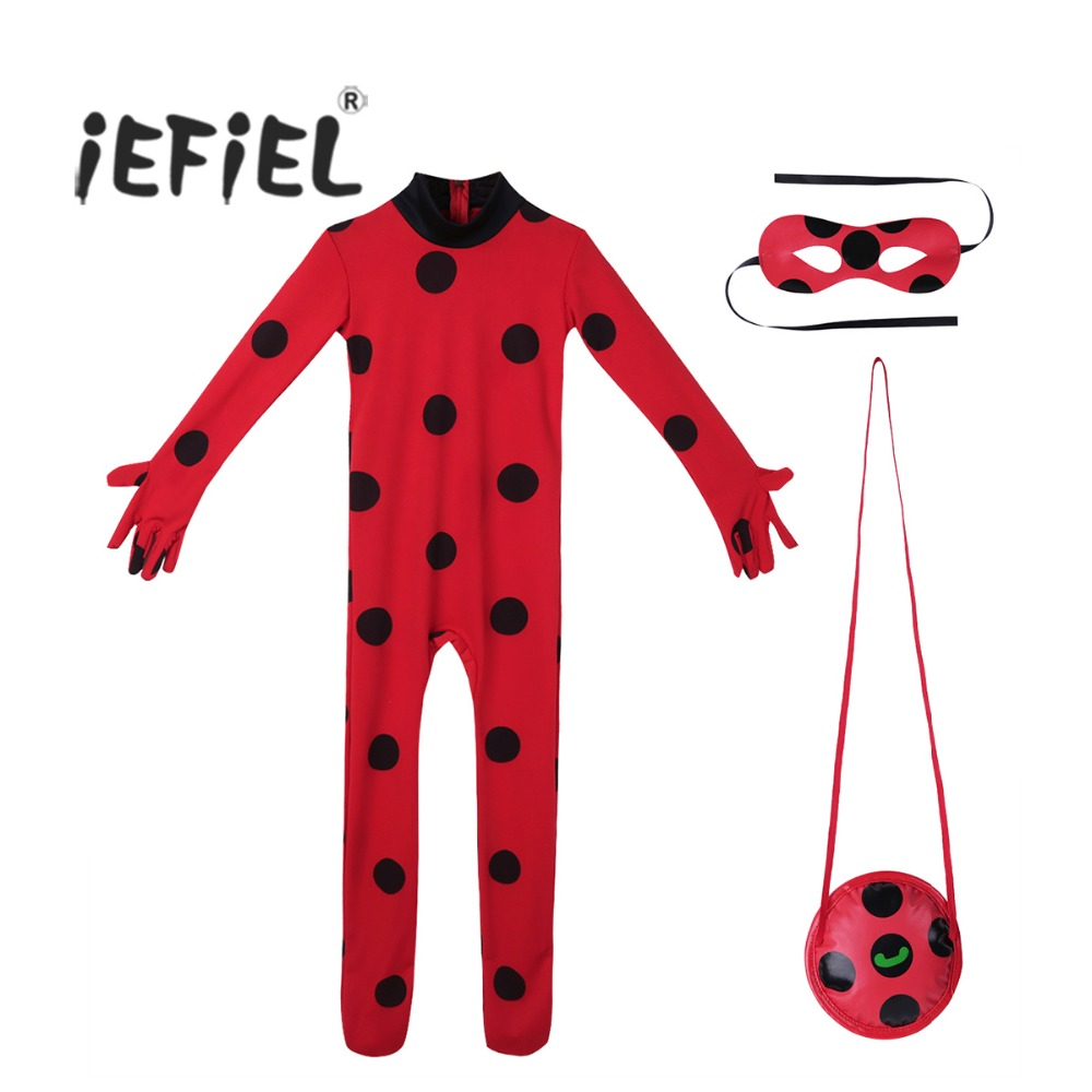 iEFiEL Kids Girls Boys Cute Ladybug Outfit Long Sleeves Romper Jumpsuit with Eye Mask Bag Halloween Cosplay Party Costumes Set