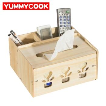 Multi-function Wooden Makeup Organizer Tissue Storage Box Desk Stationery Phone Boxes Cosmetics Case Holder Accessories Supplies makeup organizer box