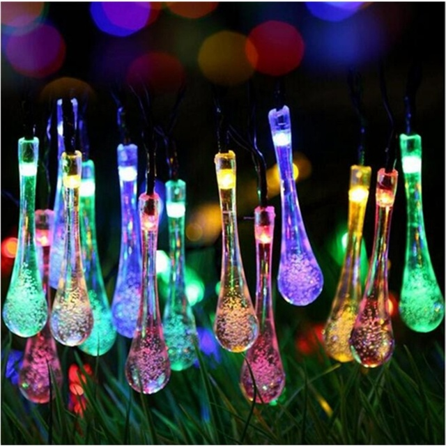 New 20 LED Solar Water Drop String Light String Lights Bulb Outdoor  Christmas Garden Birthday Party