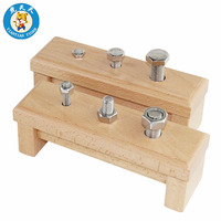 Montessori Wooden Toys Baby Early Education Training Toys Nuts & Screw On A Base