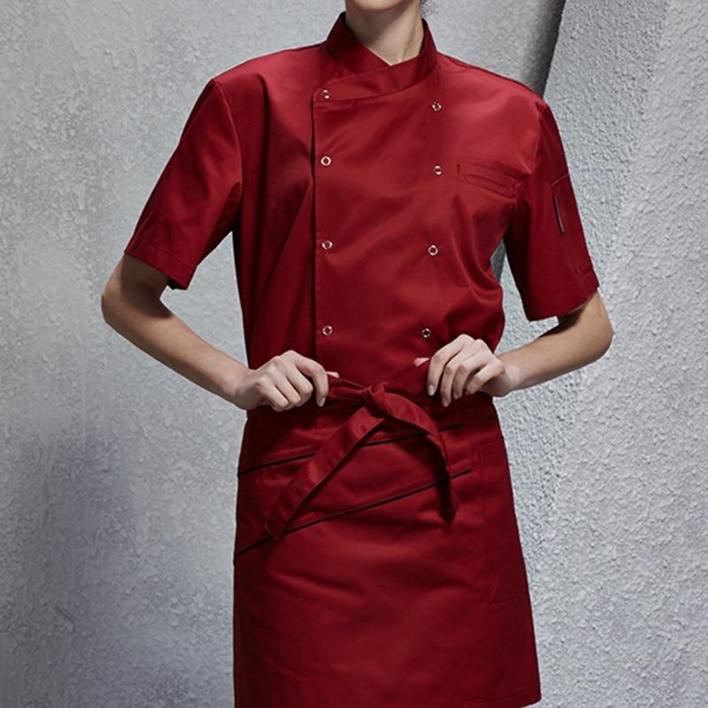 White Red Black Short Sleeve Shirt Barista Hotel Restaurant Diner Kitchen Chef Uniform Bistro Baker Bar Catering Work Wear B66