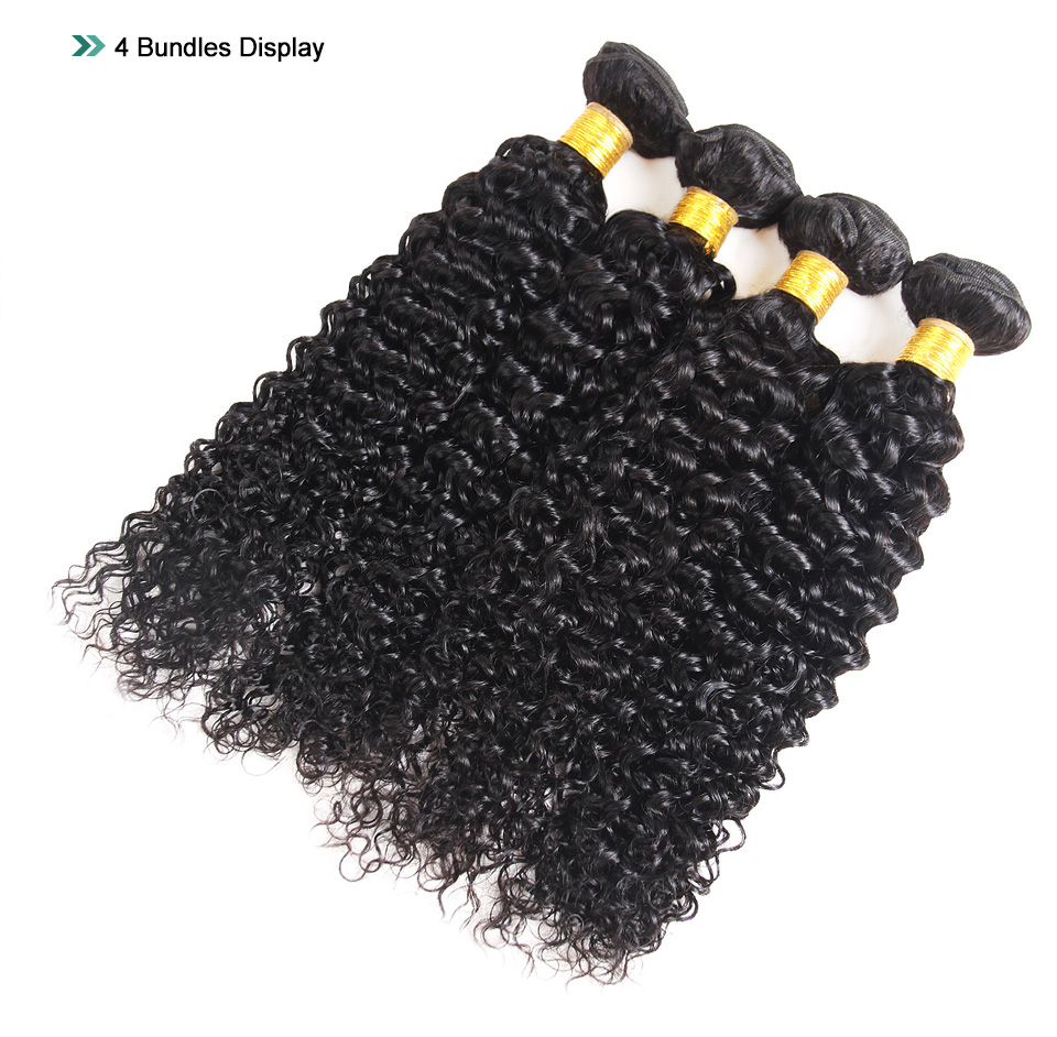 Young Look Peruvian Curly Hair Weave Bundles 100% Human Hair Bundles Extension Natural Color Non Remy Hair 4 Bundles For Woman