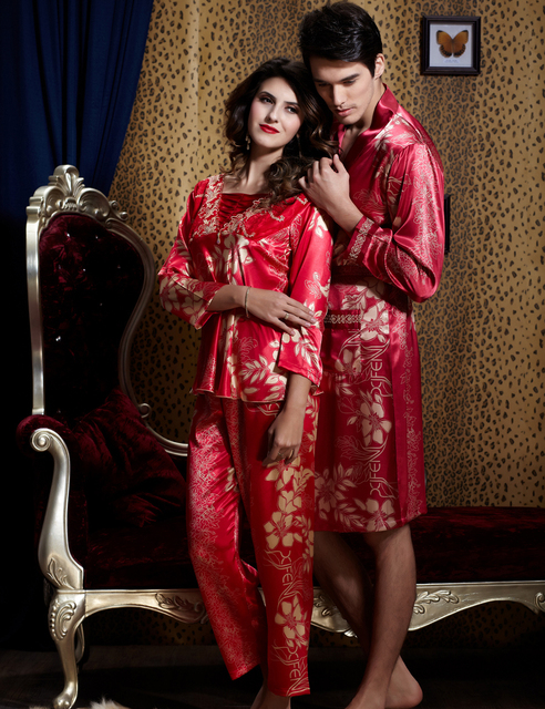 Мода Красный Пара Пижамы Эмуляции Шелковый Женщины Pijamas Полный Рукав Пижамы Для Мужчин Шелковый Атлас Пижамы Костюм Повседневная Домашняя Одежда