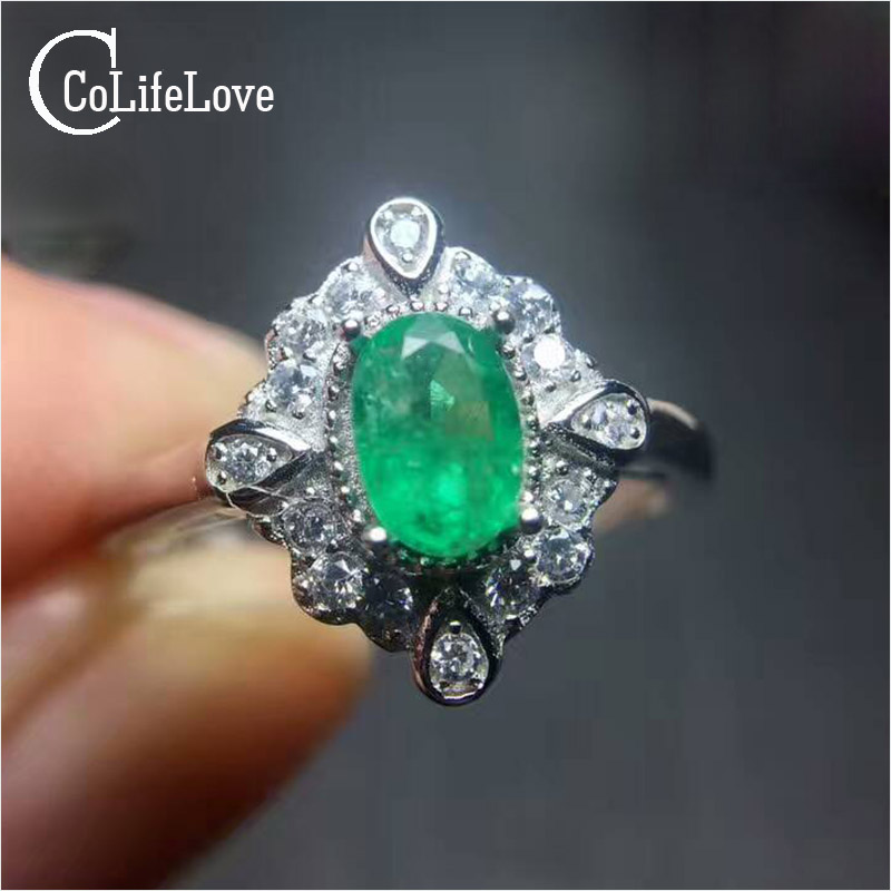 Vintage style silver emerald ring 0.4 ct 4 mm * 6 mm oval cut SI grade natural emerald ring solid 925 silver emerald</font