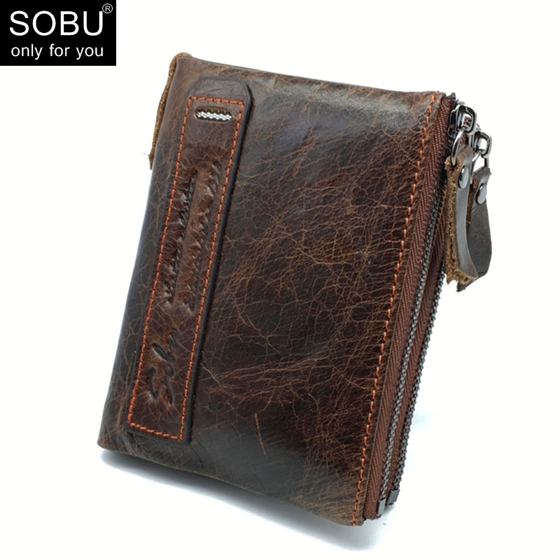 Genuine Crazy Horse Cowhide Leather Men Wallet Credit Business Card Holders Double Zipper Coin Purse Small Vintage Wallet A000 crazy horse leather billfolds wallet card holder leather card case for men 8056r 1