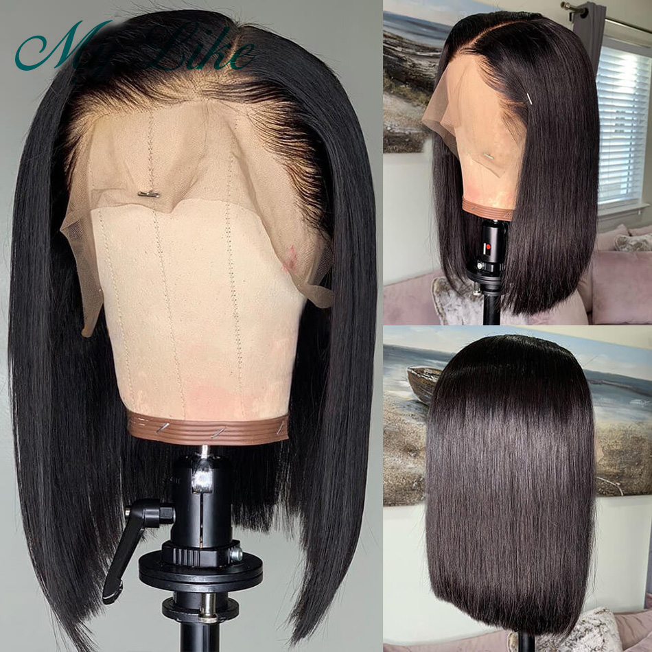 My Like Short Bob Wigs Brazilian Straight Remy Human Hair Wigs Blunt Cut 13x4 Lace Front Wigs Deep Part Pre Plucked