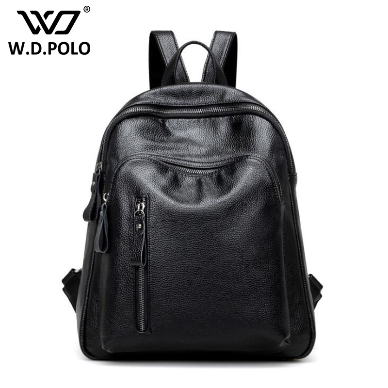 WDPOLO leather women backpack classical black chic school bags high capacity cool student book bags teenager