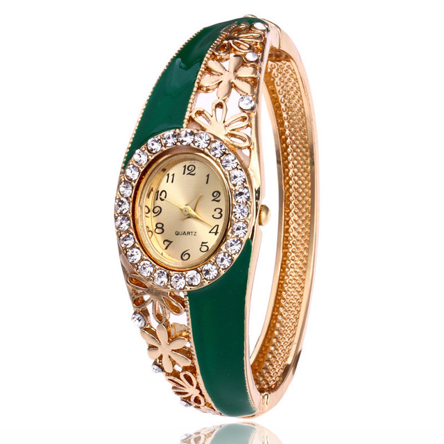 2018 Luxury Gold Women's Bracelet Watches Crystal Fashion Casual Ladies' Dress Watches Quartz Wristwatch relogio feminino Red