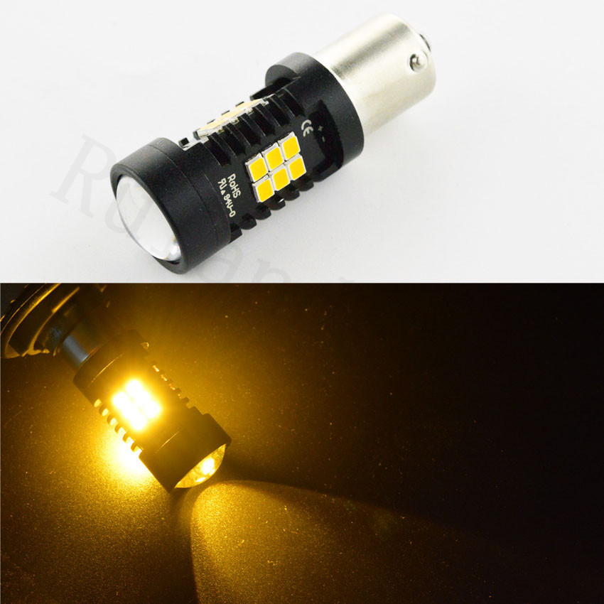 1x AC12V 24V Amber Canbus 6W 1156 BA15S P21W PY21W BAU15S LED Bulb 3030 21SMD Car Backup Reverse Light Lamp