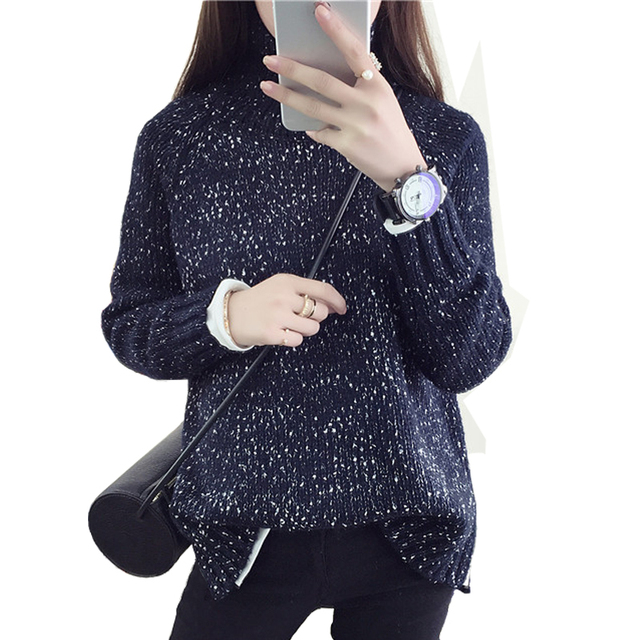 6a88e0b250 2016 Spring Women Wool Loose Knitted Casual Sweater Choker Dot Long Sleeve  Fashion Thickening Stretch Girl
