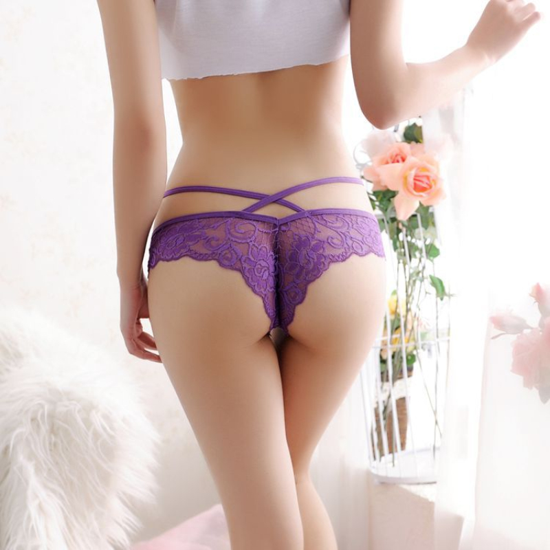 Women Bandage Sexy Briefs Lace G String Hollow Panties Low Waist Underwear Transparent Thongs