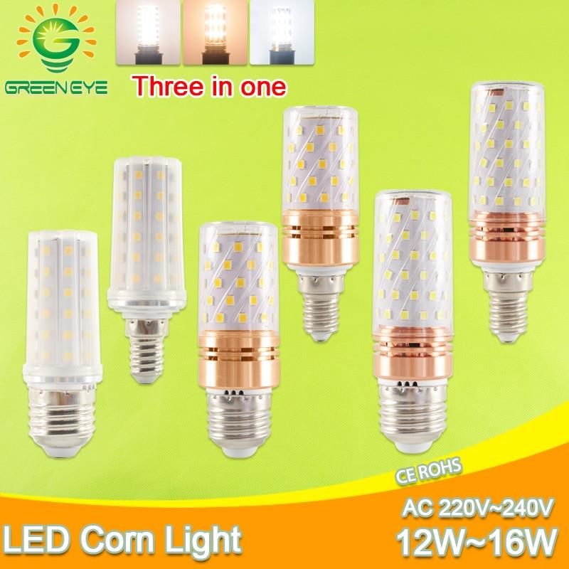 E27 LED Bulb E14 LED Lamp AC 220V 240V 12W 14W 16W SMD2835 Corn Led Bulb Chandelier Candle LED Lighting For Home Decoration